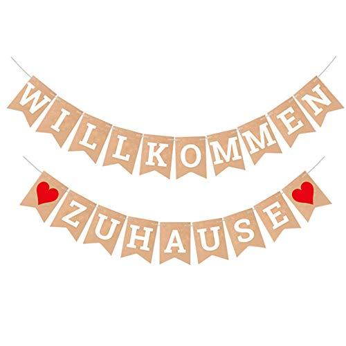 HAPPY FINDING Willkommen Zuhause Banner - Welcome Home Bunting mit 19 Stück Wimpeln und 2 Stück 3-Meter Jute Seil für Familie Party Dekoration