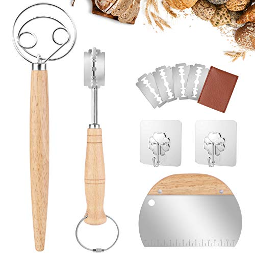 Danish Dough Whisk Set - Mixoo Large Double Eye Bread Mixer Set with Stainless Steel Dough Bench Scraper, Hand Crafted Bread Lame with 4 Replaceable Blades and 2 Stainless Hooks for Cake Bread Pastry