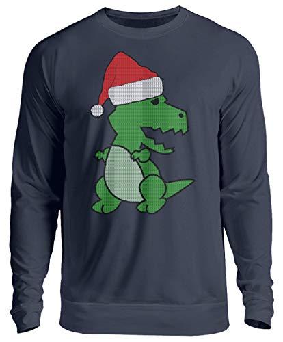 Cooles Shirt-Design mit einem Weihnachts-Dino in Ugly Christmas Sweater-Optik. Strickoptik - Unisex Pullover -L-Oxford Navy