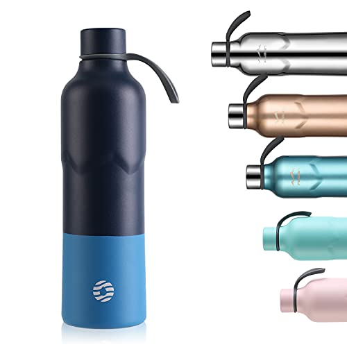FJbottle Botella de Agua Acero Inoxidable 600ML, Botella Termica Termo Deporte Reutilizable, sin BPA, a prueba de fugas, para Bicicleta, Ciclismo, Gimnasio