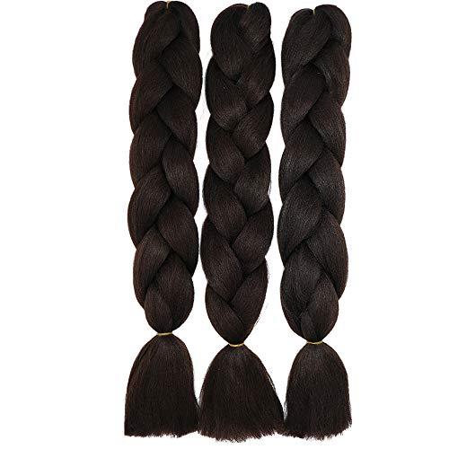 60cm Jumbo Braid Flechten Hair Extensions Braids Extensions Synthetik Braiding Crochet Hair Kunsthaar 3 packs 300g Haarteile (Mittel braun)