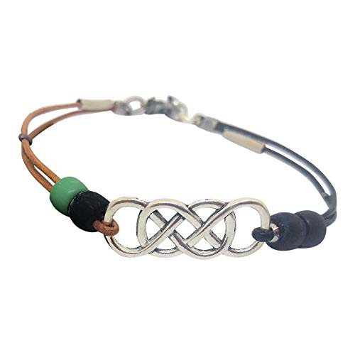 Infinity Anklet for Women With Celtic Knot, Turquoise and Black Leather Ankle Bracelet