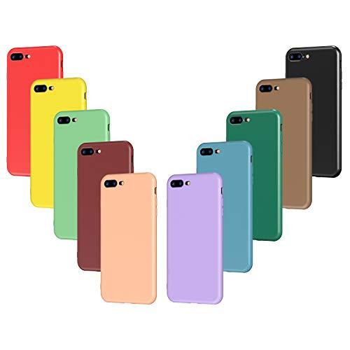 VGUARD 10x Custodia Cover per iPhone 8 Plus / 7 Plus, Sottile Morbido TPU Silicone Custodie Gel Case (Nero, Verde Scuro, Verde Chiaro, Blu, Arancione, Rosso Vino, Rosso, Giallo, Viola, Marrone)