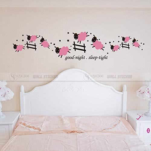 Comte Jumping Sheep Good Night Sleep Tight Vinyle Wall Sticker Decal Enfants Chambre Bébé Pépinière Autocollants 30X145Cm Rose