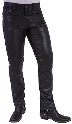 RICANO Slim Fit, Herren Lederhose in 5-Pocket Jeans Optik aus echtem Lamm Nappa Leder (Glattleder) (Schwarz, Grau, Cognac Braun) (Schwarz, 42)