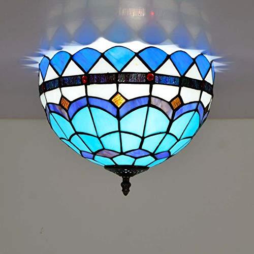 Plafoniere stile Tiffany, lampada da soffitto da 12 pollici in vetro colorato for corridoio, plafoniere con decorazioni mediterranee for soggiorno, sala da pranzo, camera da letto, luci E27-2