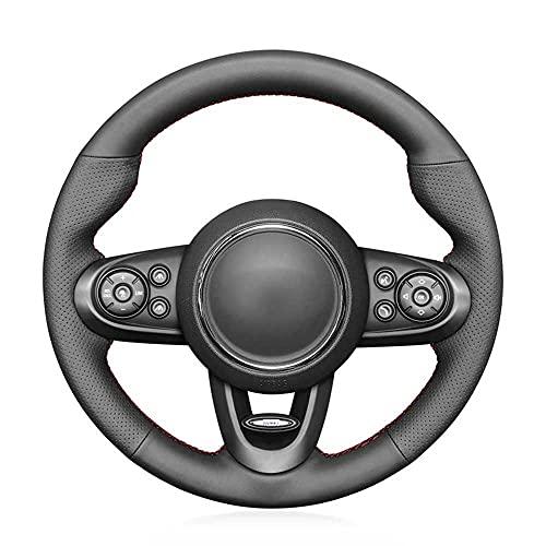 MPOQZI Cubierta de Volante de Cuero Negro Cosida a Mano, Apta para Mini Hatchback Mini JCW Clubman JCW Convertible JCW Countryman JCW