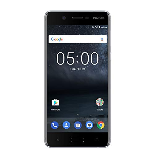 """Nokia 5 - Android 9.0 Pie - 16 GB - Single Sim Unlocked Smartphone (AT&T/T-Mobile/Metropcs/Cricket/Mint) - 5.2"""" Screen - Silver"""