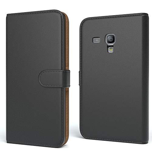 EAZY CASE Tasche für Samsung Galaxy S3 Mini Schutzhülle mit Standfunktion Klapphülle im Bookstyle, Handytasche Handyhülle Flip Cover mit Magnetverschluss und Kartenfach, Kunstleder, Schwarz