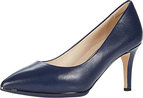 Cole Haan womens Grand Ambition (75mm) Pump, Marine Blue Leather Black Sole Edge Marine Bl Os Gold Hw, 10 M US