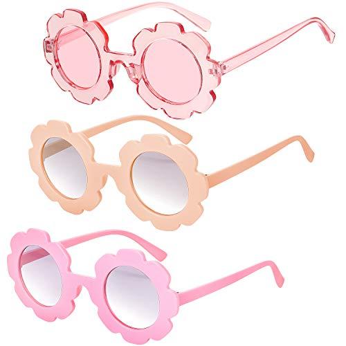 3 Piezas Gafas de Sol de Flores Redondas Gafas de Sol de Playa Lindas al Aire Libre para Niños (Naranja Claro, Rojo, Rosa Transparente)