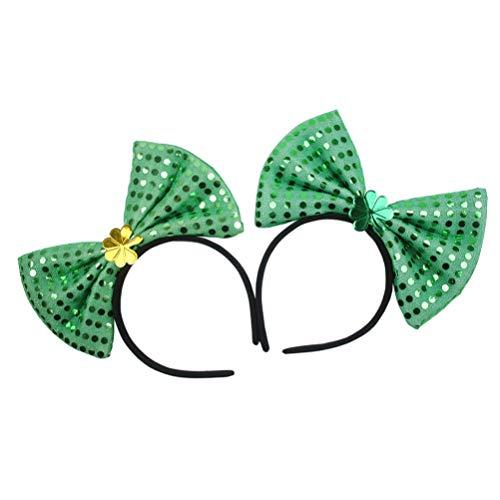 Amosfun 2 stks St. Patricks Dag Hoofdband Shamrock Haar Band Pailletten Bowtie Hoofddeksels St Patricks Kostuum Haaraccessoires Ierse Party Favors Gouden+Groen