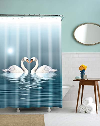 JZDH Duschvorhang für Badezimmer Schwan Im Wasser Muster Duschvorhang, 3D-Digitaldruck-Wasserdichten Duschvorhang Mit 12 Haken