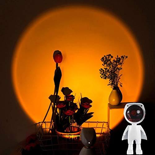 Akemaio Proyector de lámpara LED crepuscular, ambiente arco iris, luz nocturna, duradera, rotación de 60 grados, lámpara de puesta de sol, para salón o dormitorio