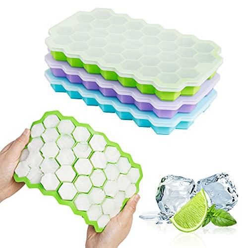 Eiswürfelform 3er Pack Eiswürfelform Silikon mit Deckel Einfache Eisfreigabe Eiswürfelform BPA-freie Eiswürfelbehälter für Cocktails Whisky Saft Wasser und andere Getränke