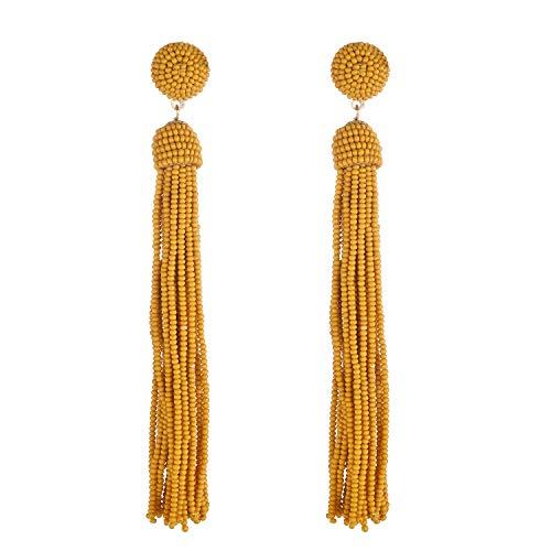 Nicole Miller New York Long Mustard Yellow Tassel Beaded Drop Dangle Stud Earrings