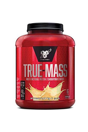 BSN True Mass Weight Gainer eiwitmengsel poeder (bevat whey, caseïne, glutamine en koolhydraten, eiwitshake van BSN) 16 porties, 2,64 kg vanille