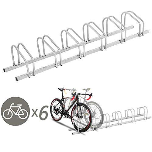 Goplus 6 Bike Rack Bicycle Stand Cycling Rack Parking Garage Storage Organizer Silver