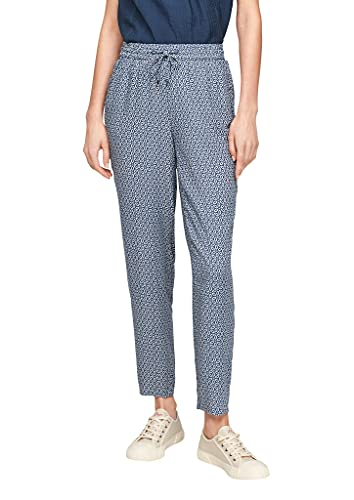 s.Oliver Damen Regular Fit: Viskose-Jogpants blue embroidery 40
