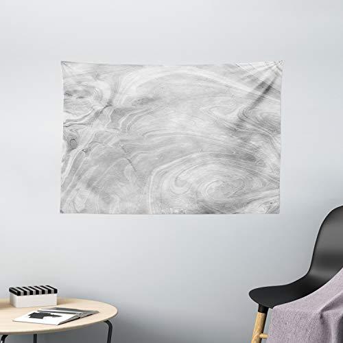 ABAKUHAUS Marmor Wandteppich, traditionelle japanische, Wohnzimmer Schlafzimmer Wandtuch Seidiges Satin Wandteppich, 150 x 100 cm, Blassgrau