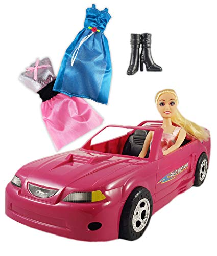 Chezza! Pink Convertible Ford Mustang Doll Car (Great for Barbie Dolls) Comes with one 11.5' Fully Dressed Fashion Doll Plus 2 Additional Doll Clothes and Shoes