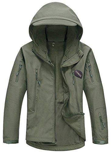 UDRES Men's Fleece Liner Outerwear Hooded Water Resistant Softshell Tactical Jacket (Medium, Tree Camo)