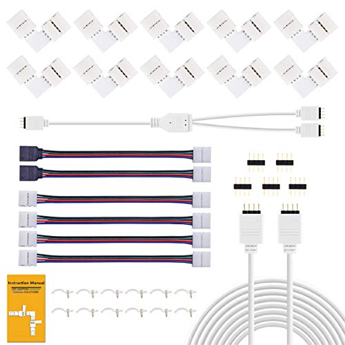REDTRON Connettore Striscia LED,10mm RGB il connettore LED include 10x L Connettori,2M Cavo di Estensione,4x Ponticelli Strip to Strip [Classe di efficienza energetica A]
