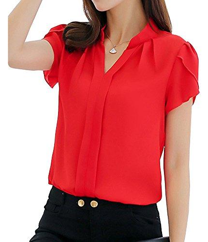 Femme Chemisier en Mousseline À Manche Courte Col V Couleur Unie Casual Chic Lâche Chemise Rouge XL