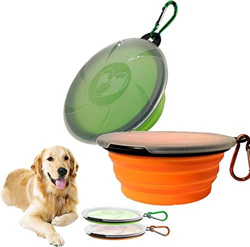 YFSEOS 2PZS Cuencos de Viaje de Silicona con Tapas para Perros Gatos, Alimentador de Agua Plegable Portátil, Tazones para Mascotas de Uso Doméstico (450ml)