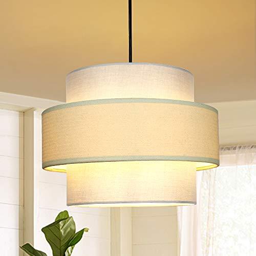 Depuley LED Hängeleuchte Höhenverstellbar Trommel, Pendelleuchte Minimalistisch, E27 Lampenfassung, Hängelampe Esszimmer, Esstischlampe Deckenlampe für Schlafzimmer Küchen Balkon Studio Flur