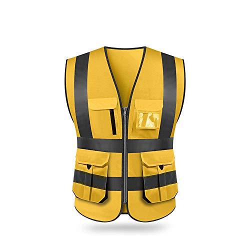 Bedler Hohe Sichtbarkeit Reflektierende Warnweste Reflektierende Weste Multi Taschen Arbeitskleidung Sicherheit Arbeitskleidung Tag Nacht Motorrad Radfahren Warnung Sicherheitsweste