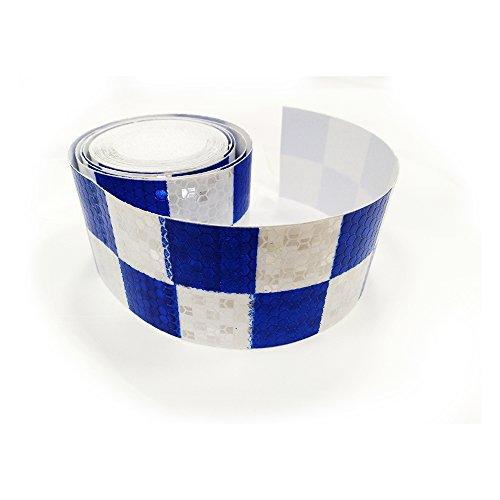 Tuqiang® Reflektierendes Klebeband, 300 cm × 5 cm, blau mit weißem quadratischem reflektierendem Klebeband, selbstklebend, Sicherheitswarnung, Auffälligkeit bei Nacht