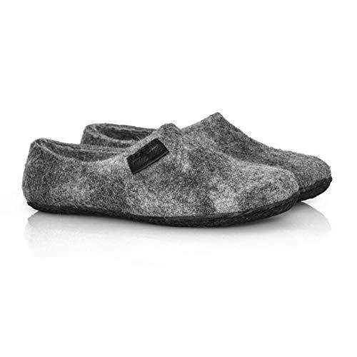 BureBure Unisex Natürliche Wolle Filzschuhe Clogs Hausschuhe Grau