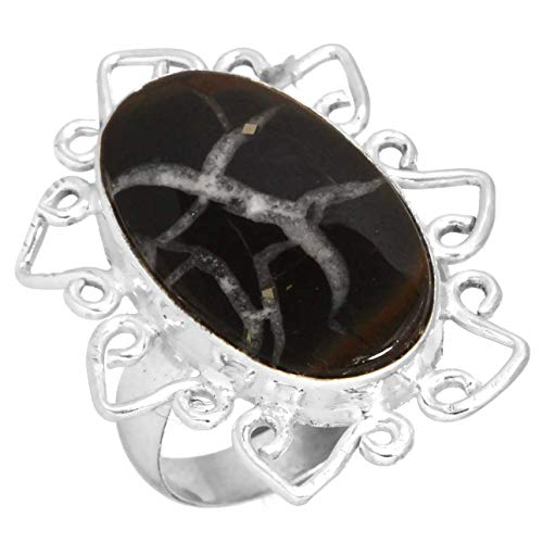 Jeweloporium Solide 925 Sterling Silber Ring Natürlich Septarian Gonaden Edelstein Mode Schmuck Größe 52 (16.6)