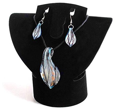 Ecloud Shop® Moda 1 Set Blue Murano Cristal de Murano Pendientes Colgante
