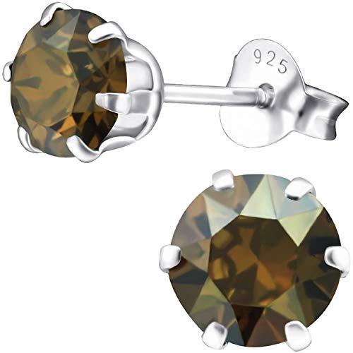 EYS JEWELRY Ohrstecker Damen rund 925 Sterling Silber Glitzer-Kristalle bronze-braun Damen-Ohrringe