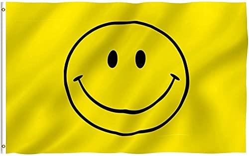 Gifts 4 All Occasions Limited SHATCHI-1362 Smiley gelbes Gesicht, groß, 152 x 91 cm, mit Ösen, Happy Smile Flagge, für jeden Anlass, mehrfarbig