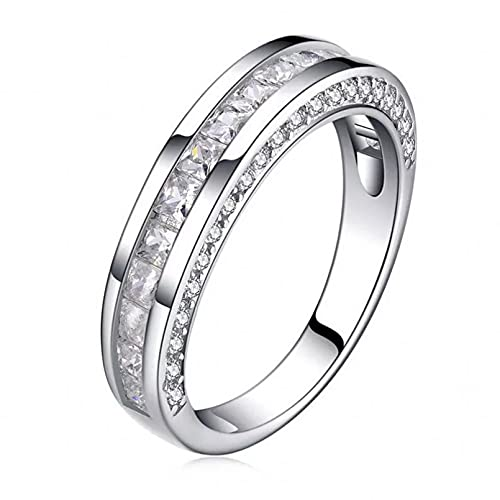 BAJIE Anillo de Boda Anillo de Diamantes de Plata esterlina 925 Anillo de Plata esterlina de Boda de peridoto de Agua Dulce Natural para Mujer
