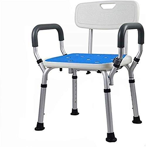 Taburete de ducha, asiento de baño, aluminio ligero, portátil, fácil de instalar, altura ajustable, con respaldo, personas con movilidad reducida