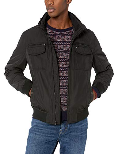 Tommy Hilfiger Men's Water and Wind Resistant Performance Bomber Jacket (Standard and Big & Tall), black Unfilled, Large