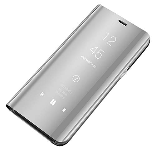 CXvwons Custodia Samsung Galaxy S7 Edge, Elegante Clear View Standing Cover S7 Mirror Flip Custodia Wallet Portafoglio Lusso Smart Flip Slim Case per Galaxy S7 Edge (Samsung Galaxy S7, Argento)