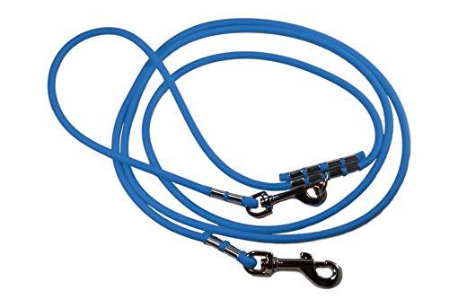 LENNIE Lange Hundeleine/runde BioThane® / lösbare Handschlaufe/Zwei Karabiner/Ø 6 mm / 2-30 Meter [5 m] / 19 Farben [Azurblau]