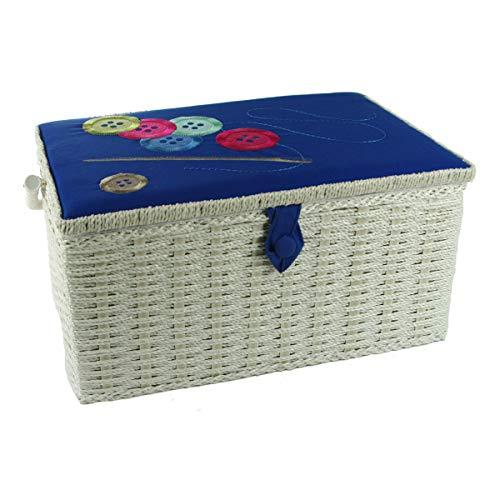 Costurero grande efecto mimbre con botones bordados en tapa de tela azul, 38 x 25 x 20 cm