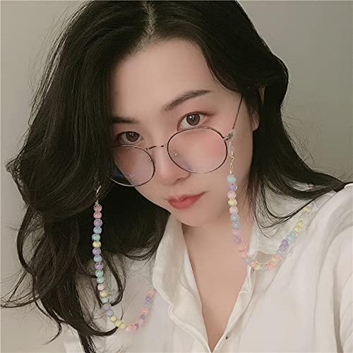 N/A Collar Coreanos De Verano Ins Wind Macarons Color Acrílico Bola Bola Gafas Cadena Máscara Cadena Mujer Regalo Parejas Y Amigos