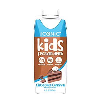 Iconic Kids Protein Shake, 8oz (12 Pack) | Zero Sugar, Vitamin D3, Organic Veggies & 8g Protein | Lactose Free, Soy Free, Gluten Free | Healthy Snacks for Kid