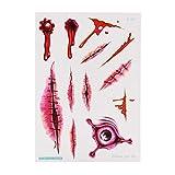 LLD 10.5x15cm Decoración de Halloween Horror Herida Scary Blood Injury Sticker Blood Hourglass Tatto...