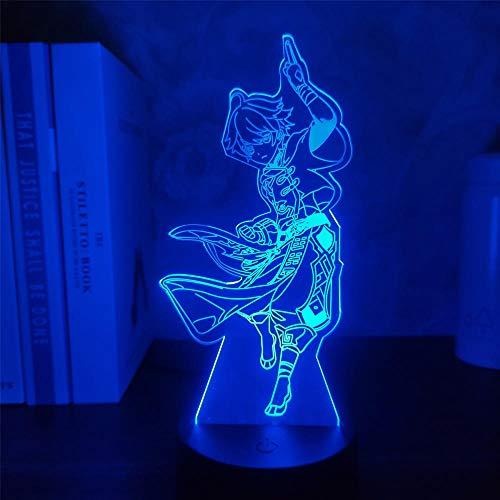 Genshin Impact Chongyun 3D lámpara de juego de ilusión LED Figura de luz nocturna para niños niños dormitorio decoración táctil sensor acrílico mesa regalo 7 colores, control táctil