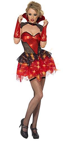 Fever, dames All That Glitters Vampir kostuum, lichtgevende jurk met omhang en mouwen, maat: S, 26145