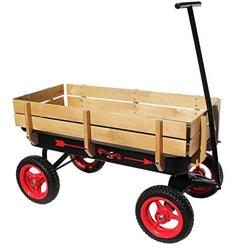 Flexible Flyer AllTerrain Steel amp Wood Wagon ExtraLong Handle Black amp Red