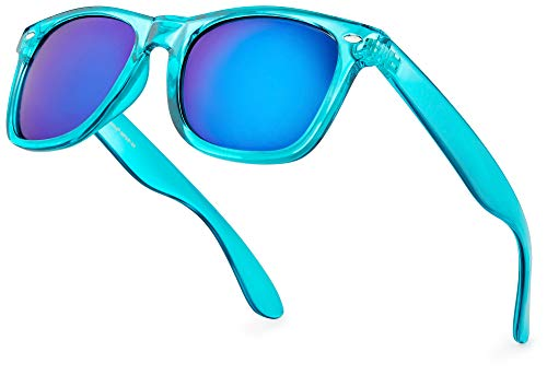 Blue Translucent Frame Retro 80s Sunglasses for Adults. Many colors available